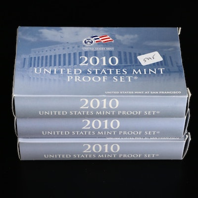 Three 2010 US Mint Proof Coin Sets