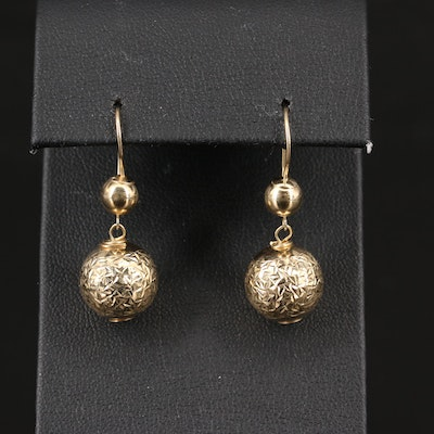14K Diamond Cut Spherical Drop Earrings