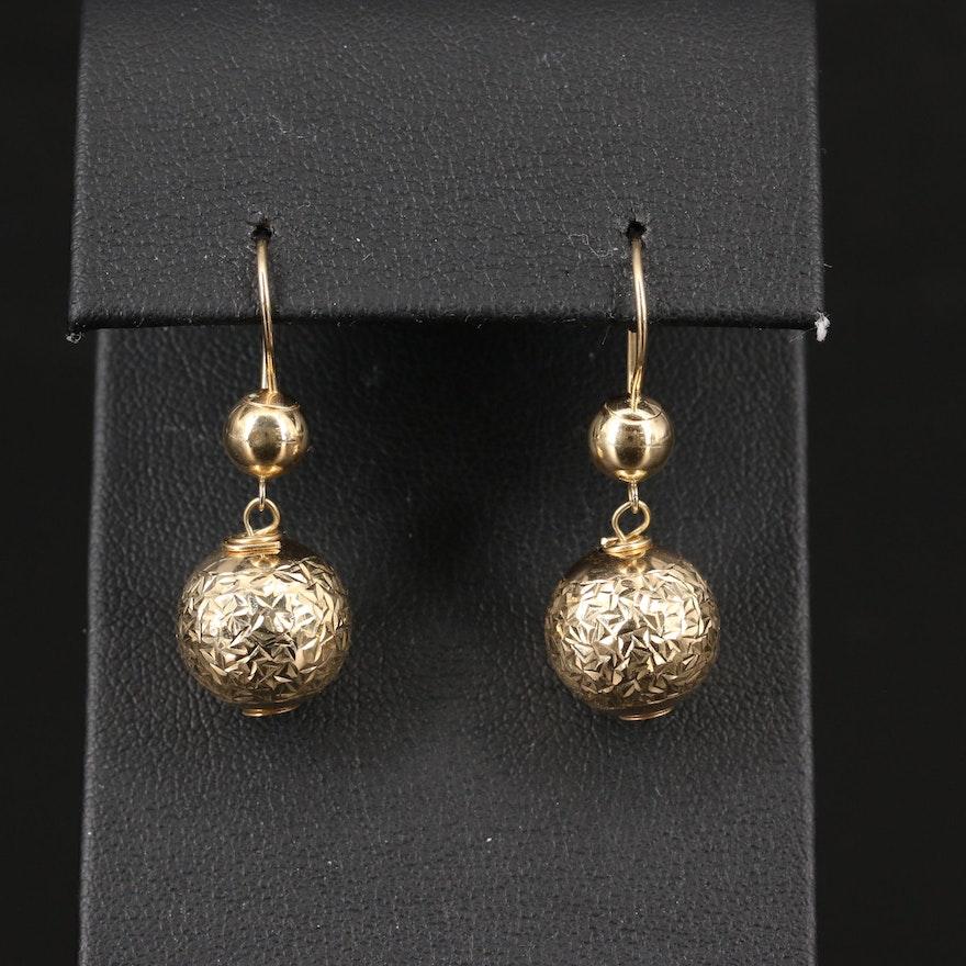 14K Diamond Cut Spherical Drop Earrings