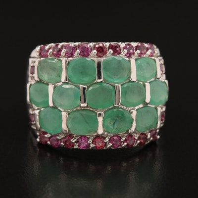 Sterling Silver Emerald and Garnet Tapered Band