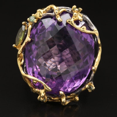 Sterling Silver Amethyst, Tourmaline and Sapphire Openwork Ring
