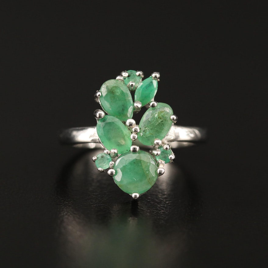 Sterling Silver Emerald Cluster Ring