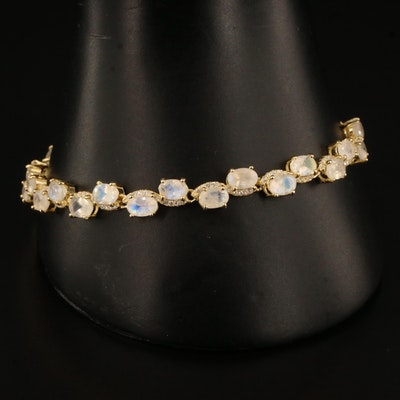 Sterling Silver Rainbow Moonstone and Cubic Zirconia Bolo Bracelet