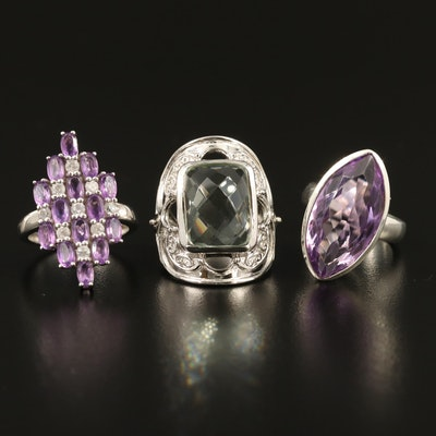 Selected Sterling Silver Amethyst, Prasiolite and Zircon Rings