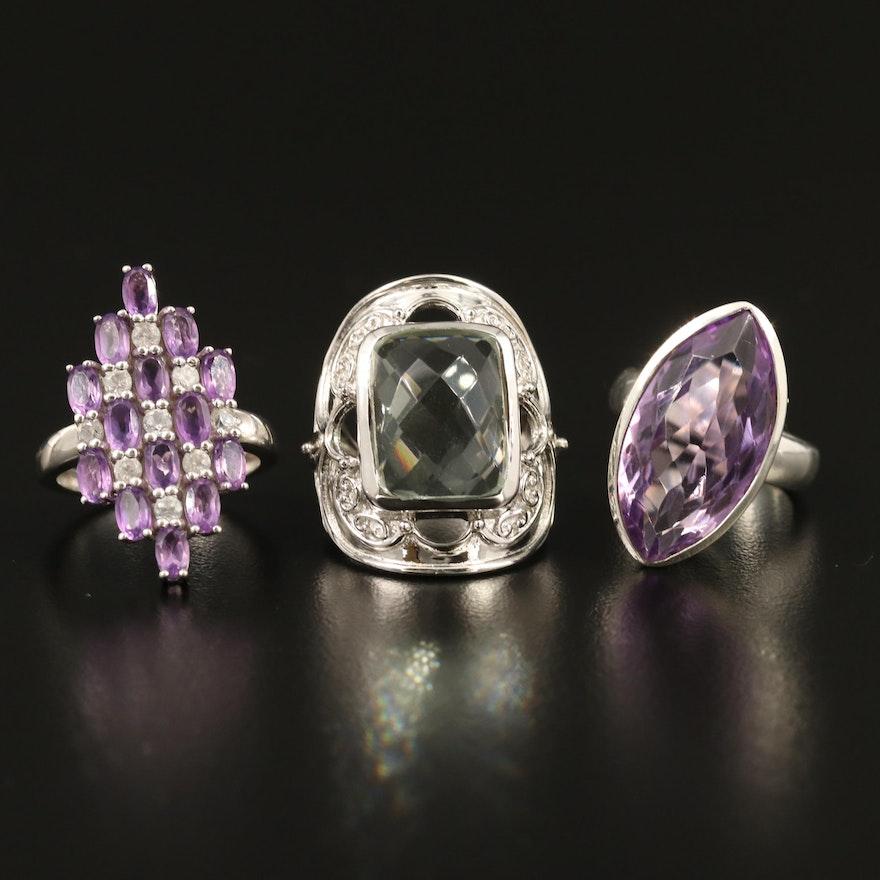 Selected Sterling Silver Amethyst, Prasiolite and Zircon Rings