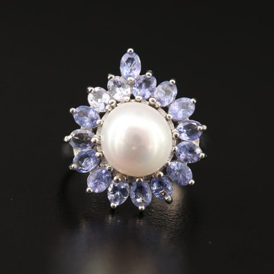 Sterling Pearl and Tanzanite Ring