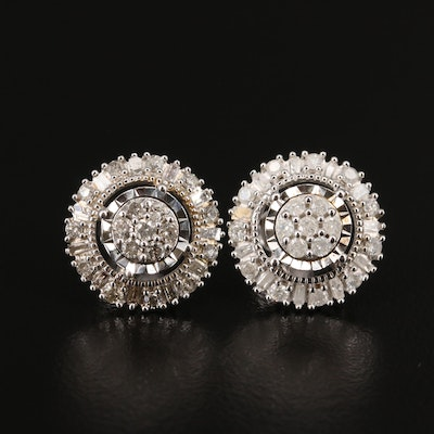 Sterling Silver 0.90 CTW Diamond Halo Stud Earrings