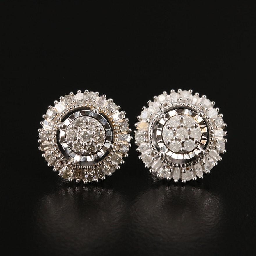 Sterling Silver 0.90 CTW Diamond Halo Stud Earrings