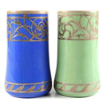 Austrian Porcelain Mugs with Gilt Foliate Embellishment, Mid-20th Century