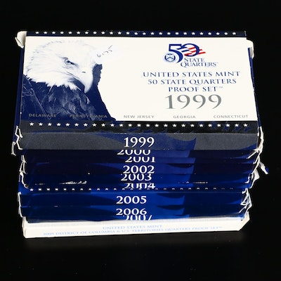 Ten US Mint Commemorative Quarters Proof Sets