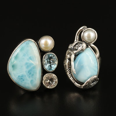 Arya Sterling Silver Larimar Rings Including Pearl, Topaz and Quartz