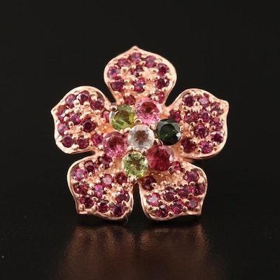 Sterling Tourmaline, Garnet and Peridot Flower Ring