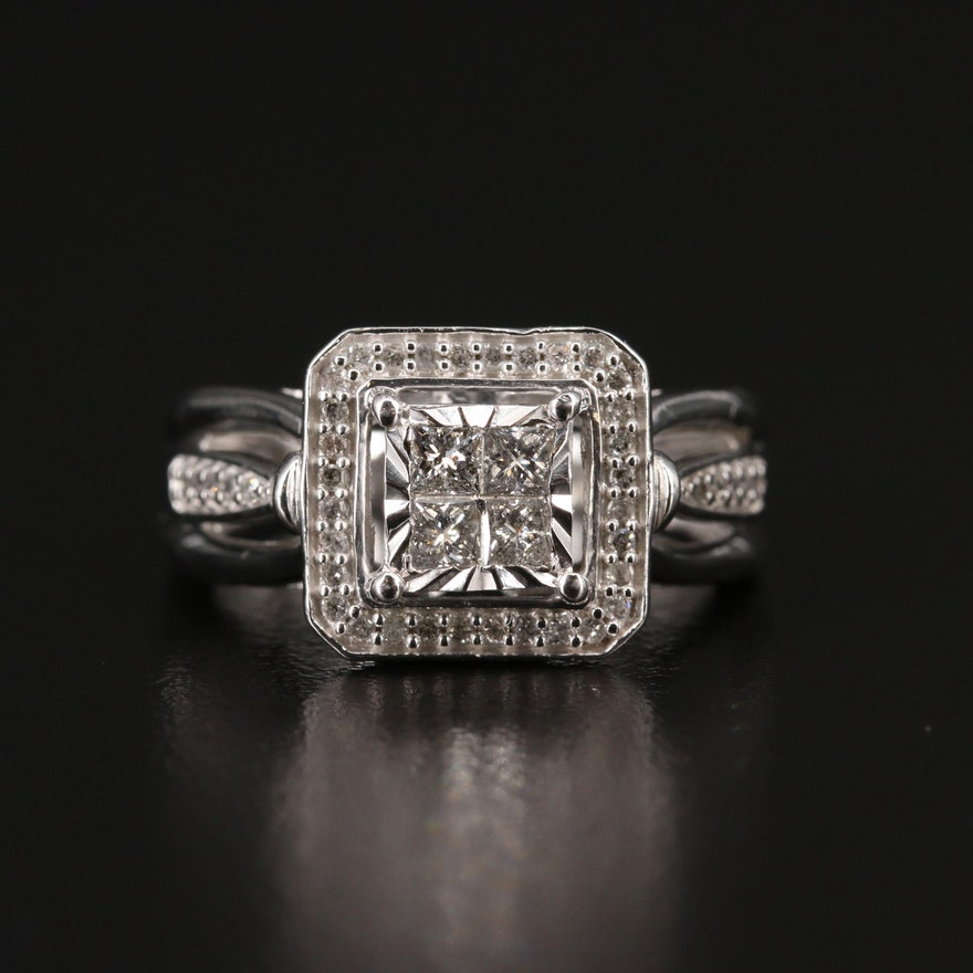 Sterling Diamond Square Halo Ring