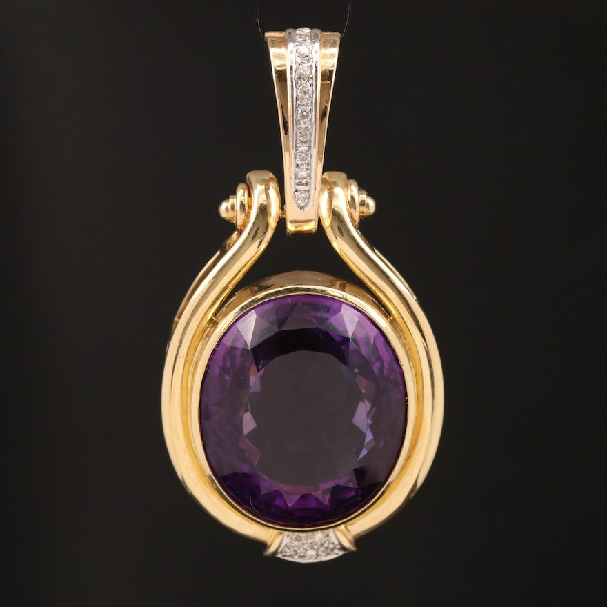 14K 38.70 CT Amethyst and Diamond Oval Enhancer Pendant