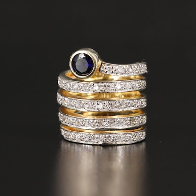Sterling Silver Sapphire and Cubic Zirconia Spiral Ring