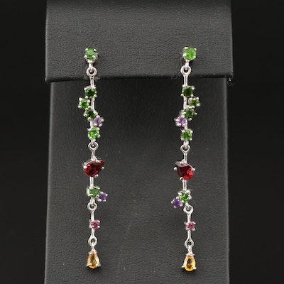 Sterling Diopside and Garnet Drop Earrings
