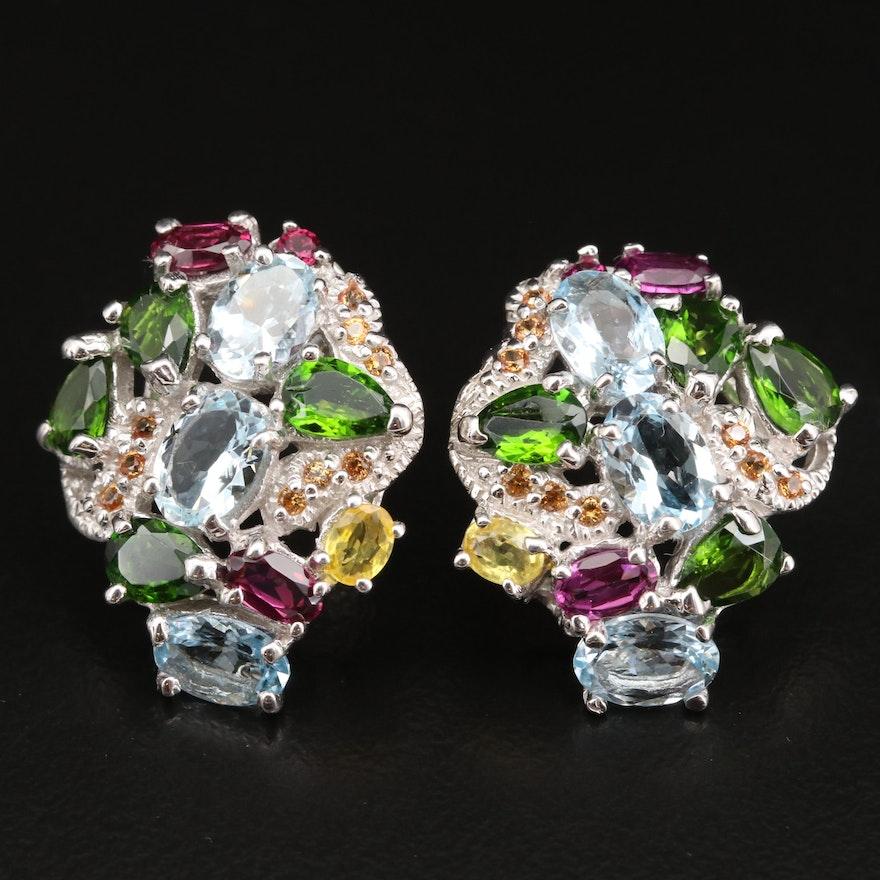 Sterling Silver Aquamarine, Diopside and Rhodolite Garnet Earrings