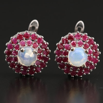 Sterling Silver Opal and Ruby Earrings