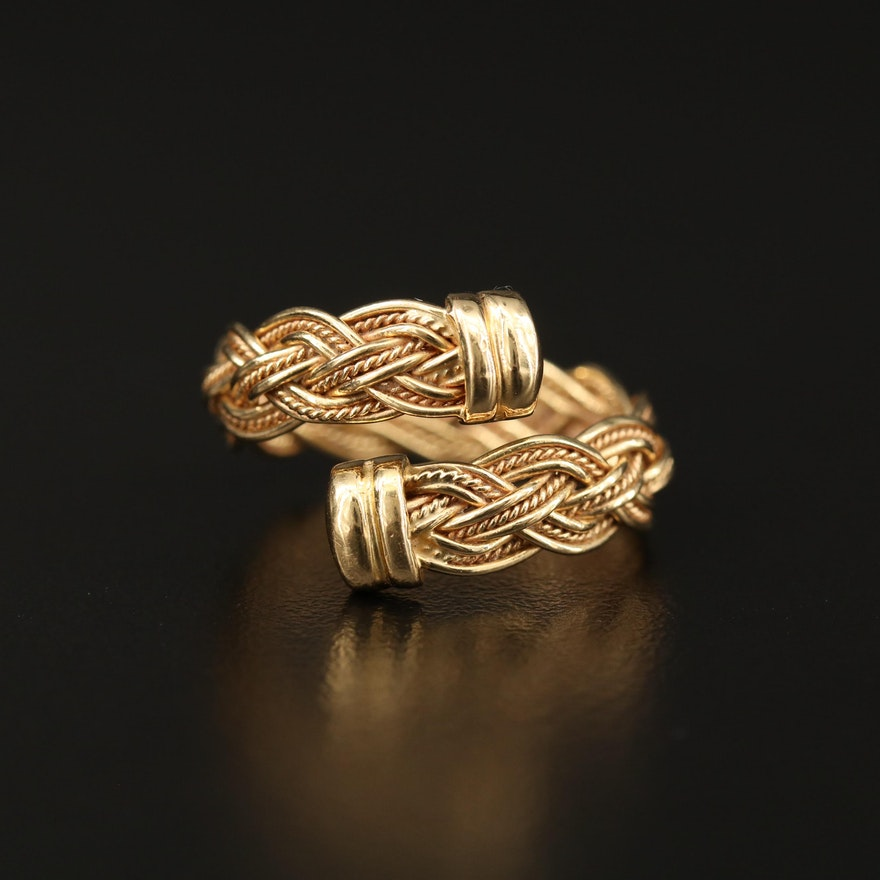 18K Braided Bypass Ring