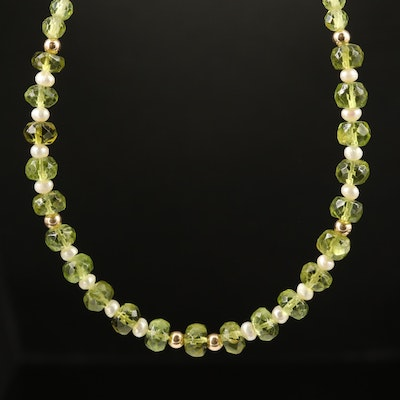 Peridot and Pearl Beaded Necklace with 14K Clasp