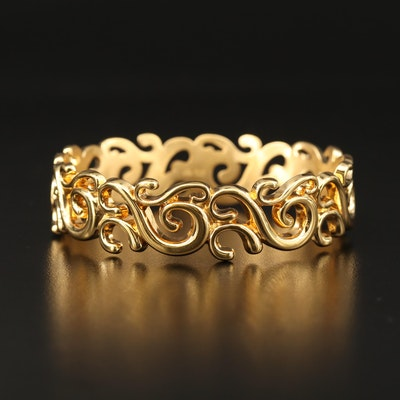 Milor 14K Scroll Motif Bangle