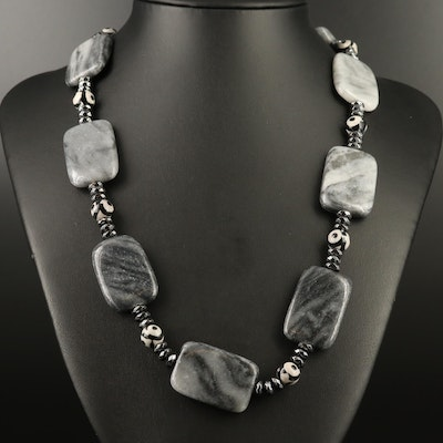 Sterling Dzi Agate, Hematite and Marble Necklace