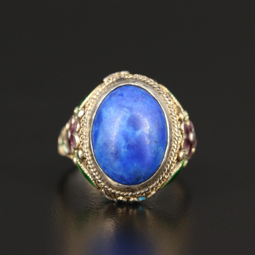 Sterling Lapis Lazuli and Enamel Floral Ring