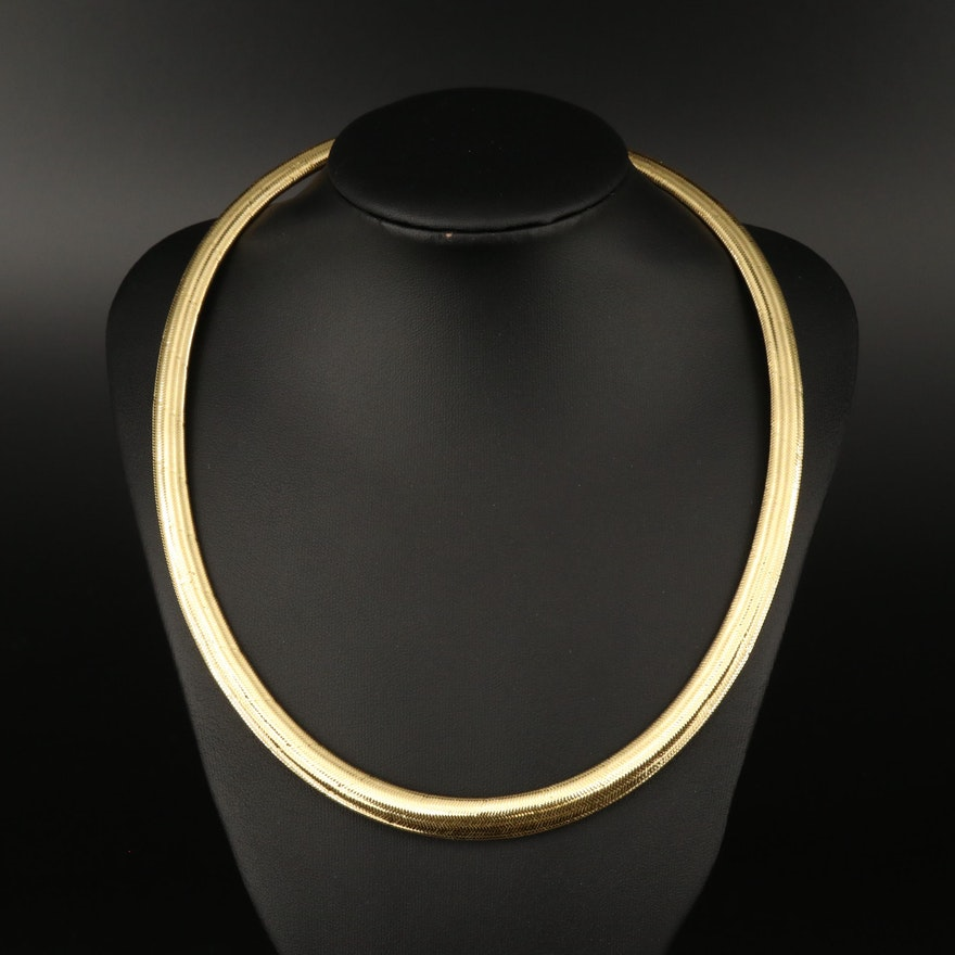 Graduated Herringbone Mesh Necklace with 14K Clasp