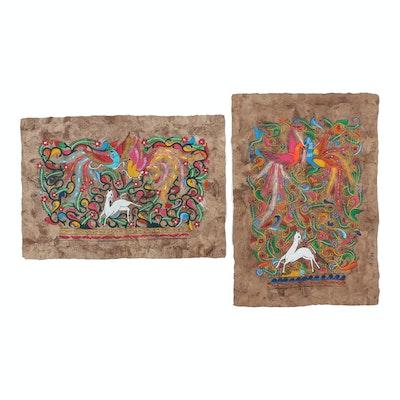 Mexican Folk Art Gouache Paintings on Amate Bark Paper