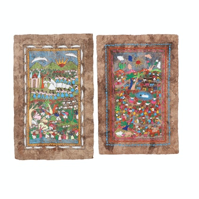 Mexican Folk Art Gouache Paintings on Amate Bark Paper