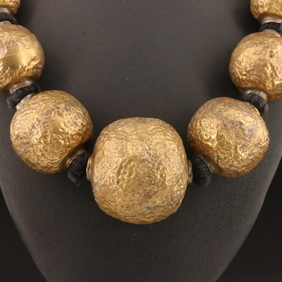 Tribal Style Necklace Featuring Graduated Cast Beads
