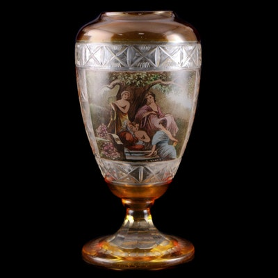 R. Wurtig Bohemian Style Flashed Glass Vase with Neoclassical Scene
