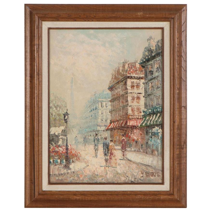 J. Bardot Parisian Street Scene Oil Painting, Mid to Late 20th Century