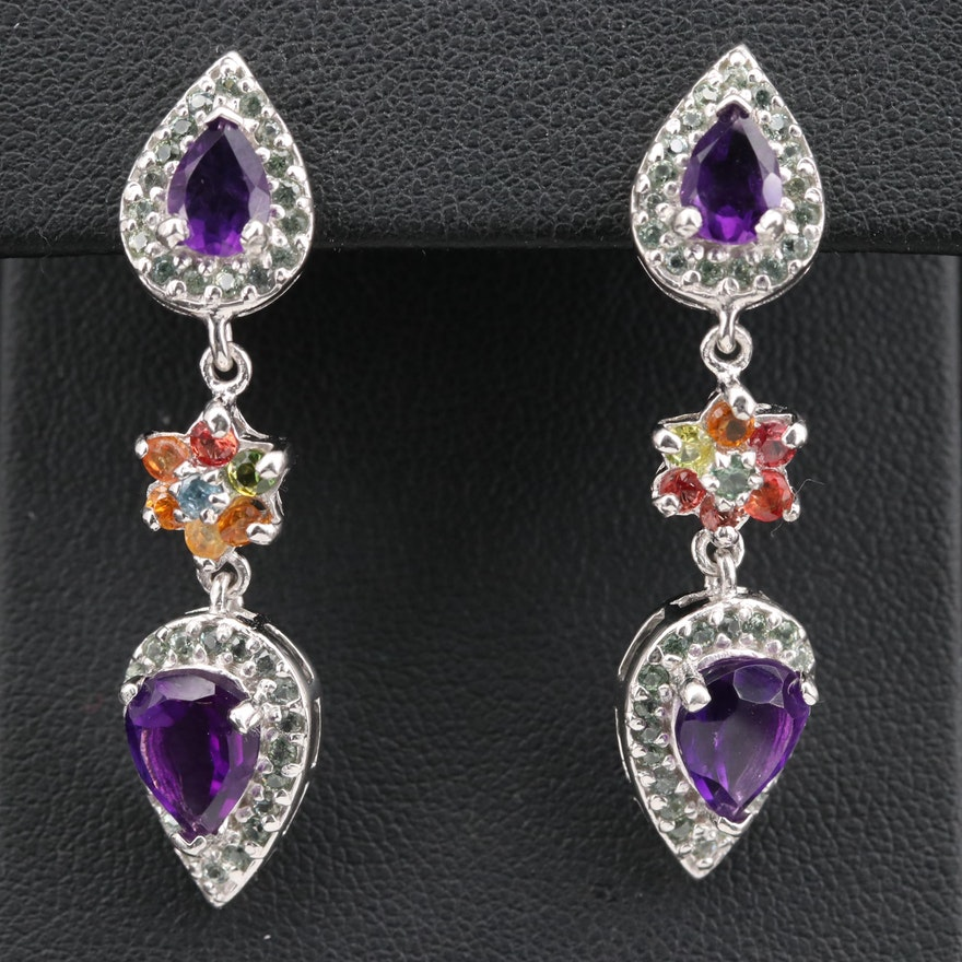 Sterling Silver Amethyst and Sapphire Dangle Earrings