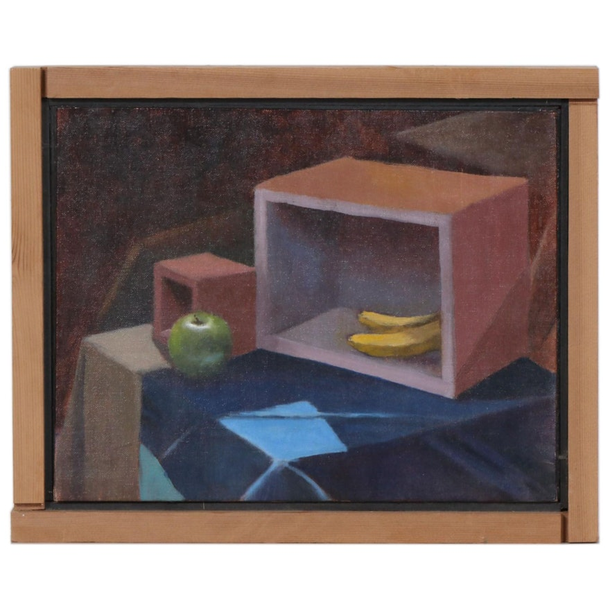 Marcus Brewer Oil Painting of Apple and Bananas Still Life, Late 20th Century