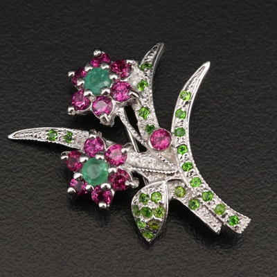 Sterling Silver Emerald, Rhodolite Garnet and Diopside Flower Brooch
