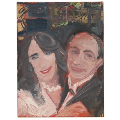 Oil Portrait of Couple, Late 20th Century