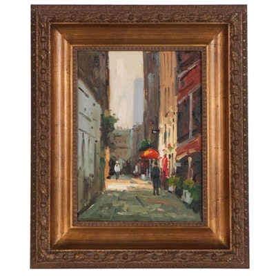 Acrylic Street Scene Painting, 21st Century
