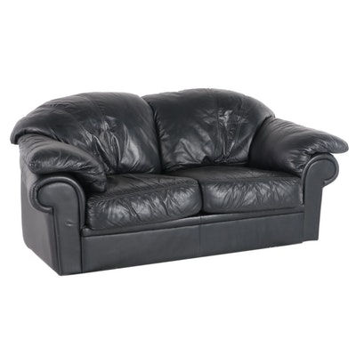Leather Craft Contemporary Pillow Arm Leather Upholstered Love Seat