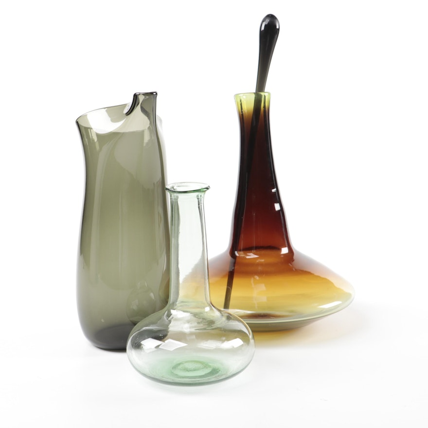 Mid Century Modern Blown Glass Vases and Martini Pitcher with Stirrer