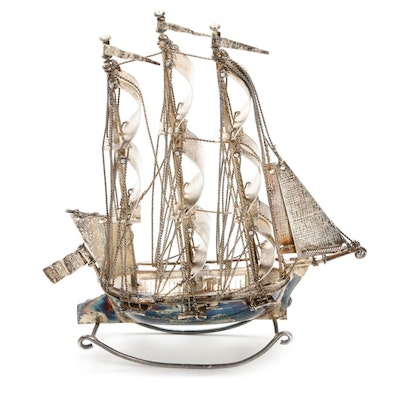 J. Verhoogt Hoorn 833 Silver Dutch Ship Miniature, Antique