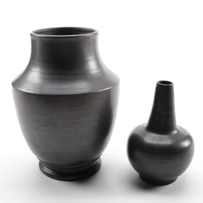 Mexican Oaxacan Barro Negro Pottery Vases
