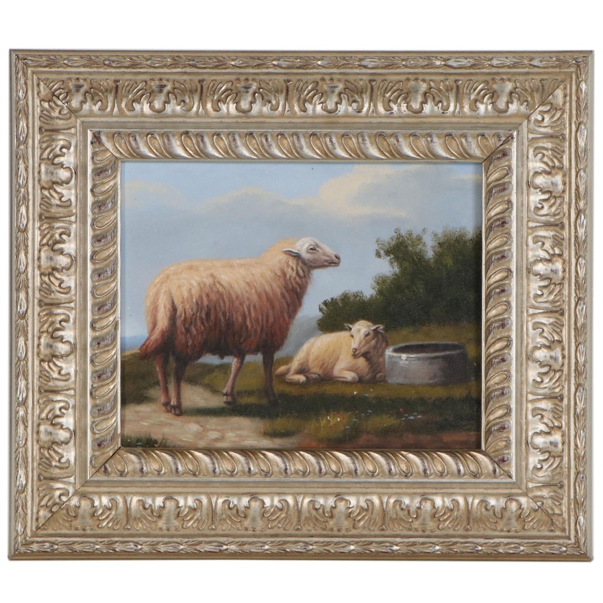 Oil Painting of Sheep, 21st Century