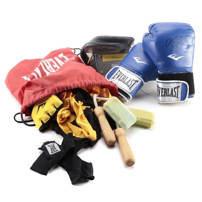 Gloria Grant Signed Everlast Boxing Gloves and Training Accessories
