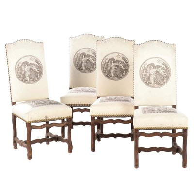 Upholstered Walnut Parson Chairs with Nailhead Trim, Antique