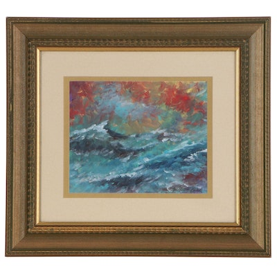 """Robert Riddle-Baker Acrylic Painting """"Hot Sky, Cold Sea"""", 2020"""