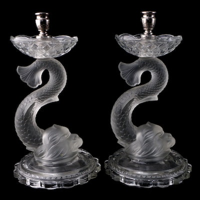 Pair of Portieux Vallerysthal Style Frosted Dolphin Pressed Glass Candlesticks