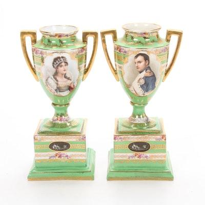 Napoleon and Josephine Gilt Porcelain Urns