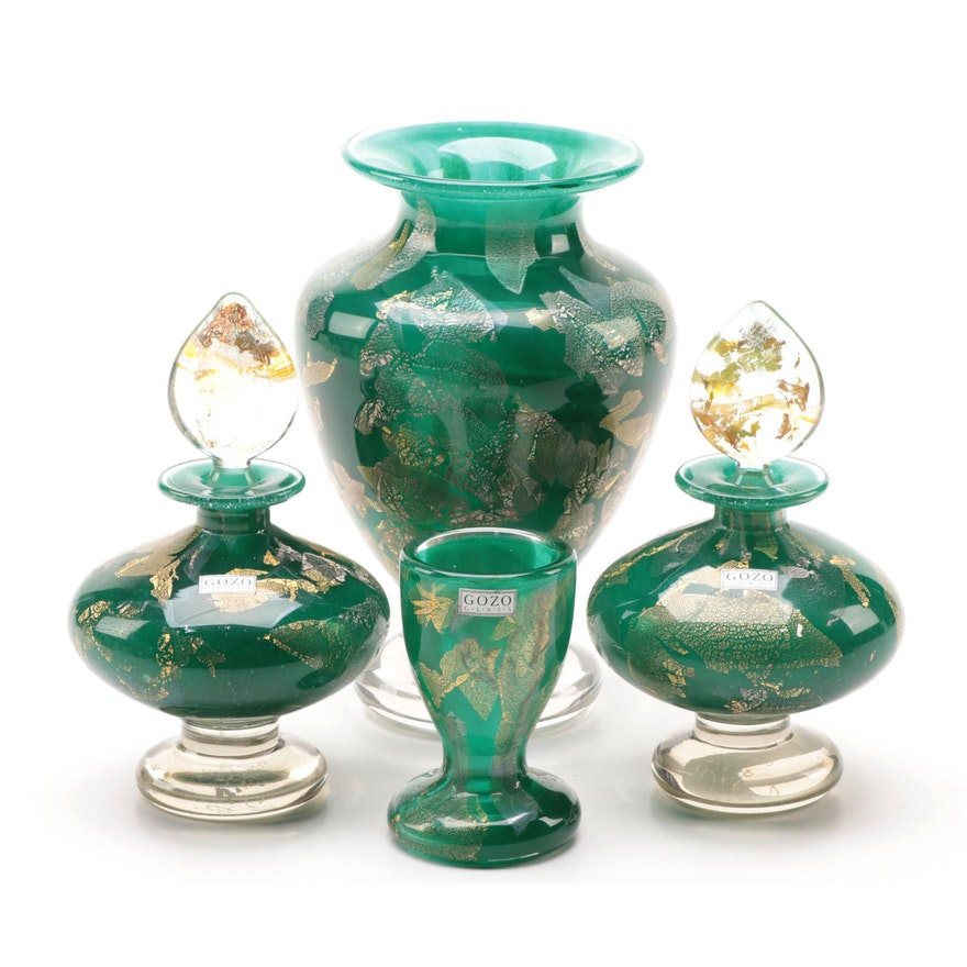 Gozo Maltese Art Glass Vase, Perfume Bottles and Egg Cup