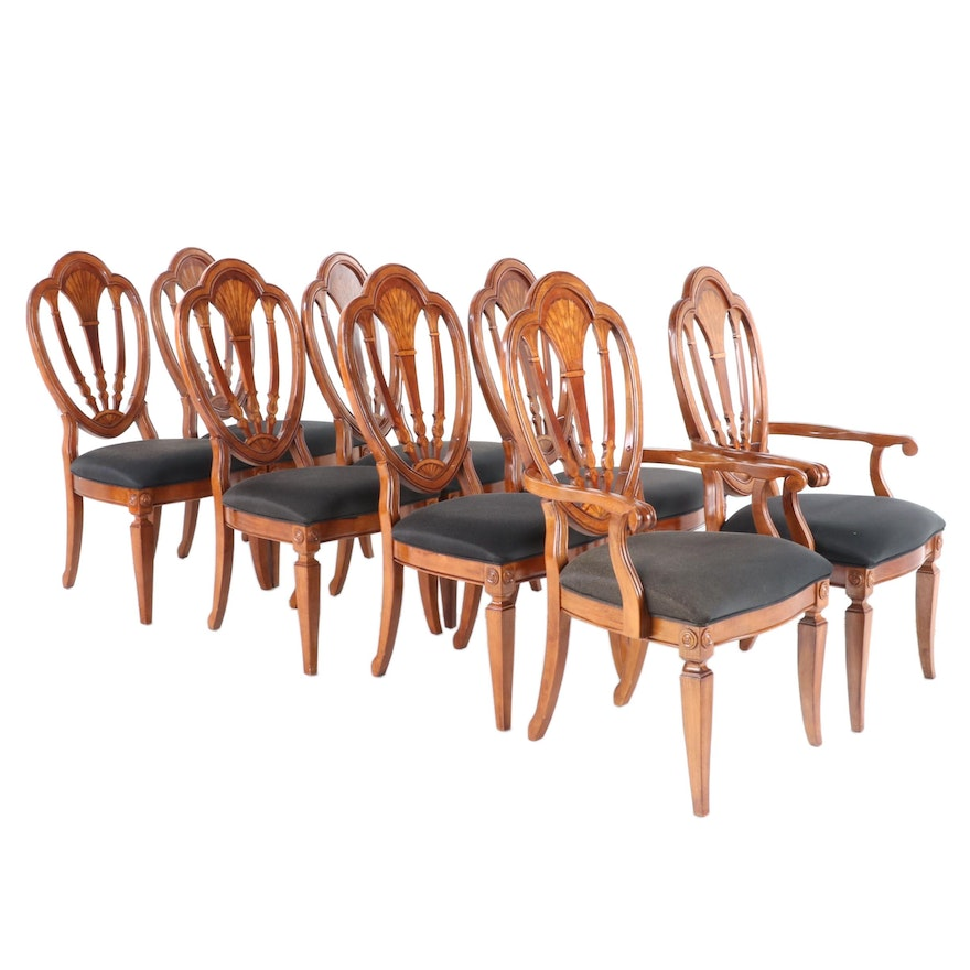 Inlaid Shield Back Dining Chairs, Contemporary